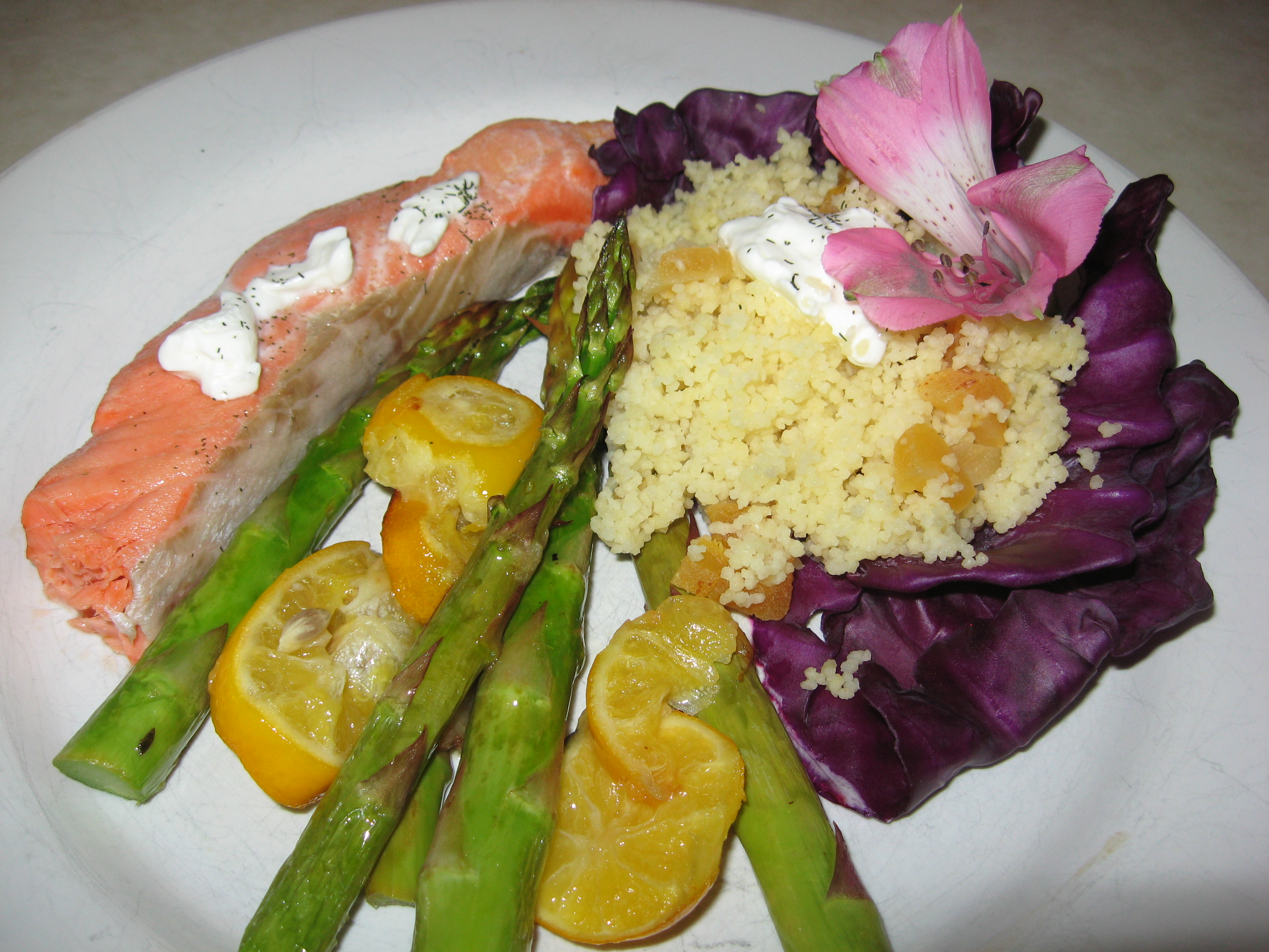 a8629bc1e79b Roasted King Salmon with Cashews and Apricot Couscous Along with a Spicy  Yogurt Sauce