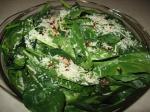 spinach on top pork