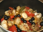veal mealballs with tomatoes, black olives and mushrooms
