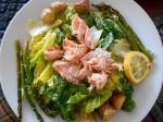 caesar,salmon,asparagus,potatoes