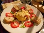moussaka,tomato, bread plated